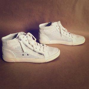 DV By Dolce Vita White Cut Out Zipper Sneakers
